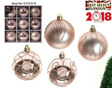 Set of 9 x 60mm Luxury Boxed Rose Gold Glitter Baubles Tree Decoration Gift Xmas