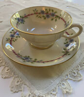 Lenox BELVIDERE Cup & Saucer Used S-314 Gold Rim Blue Floral Near Mint