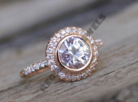 14K Rose Gold Over 1.5CT D/VVS1 Signity Diamond Halo Engagement Ring All Size