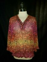 CHICO'S Size 2 12 14 L Blouse Shirt Top Pink Orange Paisley Beads 3/4th Sleeve