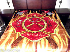 NEW 5 POUNDS SOFT QUEEN KOREAN MINK BLANKET Plush Throw FIREFIGHTER FIREMAN FIRE