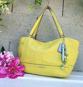 Coach 23284 chartreuse park carrie leather tote shoulder bag satchel purse bag