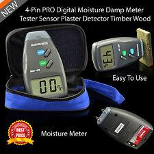 Digital Moisture Meter 4 Pin Damp Detector Tester PRO Plaster Wood Timber Sensor