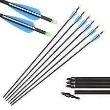 12Pcs Archery Carbon Arrows Hunting For Compound And Recurve Bow 31'' Spine 550
