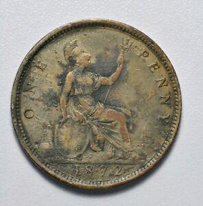 GB VICTORIA 'BUN HEAD' BRONZE PENNY 1872 ++ SHARP GRADE! ++ [040-23]
