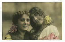 c 1907 Young SMILING GAL PAIR tinted Traut photo postcard