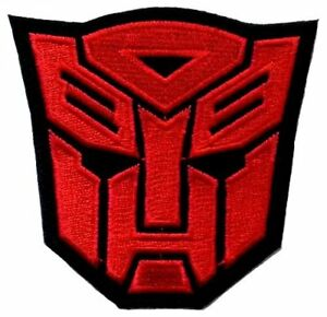 Transformers Red Autobot Movie Film logo Sew Iron On Embroidery Applique Patch