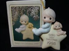 Precious Moments Christmas Ornament-1995 Baby's 1'st Boy-Le-#