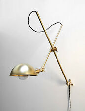 Industrial Brushed Brass Articulating Beside Wall Lamp - Extension Boom Light