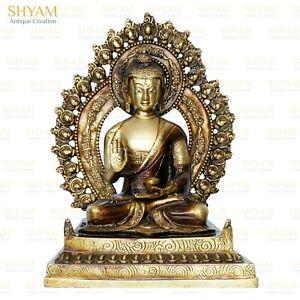 Brass Buddha big statue Figurine Antique Buddhist Buddhism Vintage idols 1-Feet
