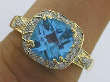 R092 Gorgeous 9ct Solid Gold NATURAL Swiss Topaz & Diamond Ring - Solitaire