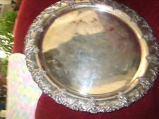 Antique, heavy and Large Scallop Silver On Copper Tray      (6 pounds)