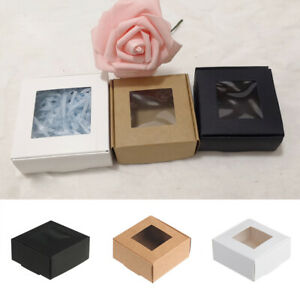 10pcs Kraft Paper Gift Box Candy Cookies Party Wedding Packing Box with Window