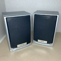 (Pair) AIWA SX-NHG2 Stereo Speakers 2-Way Bass Reflex Silver Tested Working C047