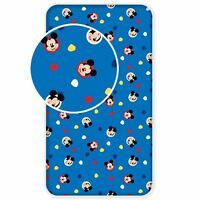 MICKEY MOUSE SINGLE FITTED SHEET 100% COTTON KIDS BEDDING BLUE