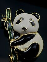 Vintage Panda Bear Brooch Pin On Bamboo Branch Rhinestone Eyes Gold Tone Enamel