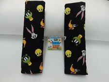 Seat Belt Cover Full Size Looney Toons Black  Set of Two