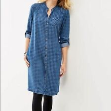 J Jill Denim Checked Chambray Shirt Dress Womens Size M Medium Long Sleeve Blue