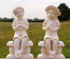 Large Cherub Garden Ceramic Ornament set  Figure antique White little Girl & Boy