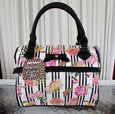 Betsey Johnson Floral Stripes Speedy Lunch Tote Bag Insulated Top Handle NWT