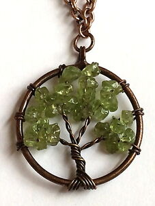 """Rose Gold Green Peridot Tree of Life Necklace 20"""" Celtic Copper Gemstone Plated"""