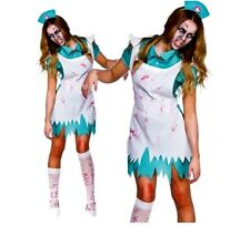Adult BLOODTHIRSTY NURSE Zombie Ladies Halloween Fancy Dress Costume UK 6-24