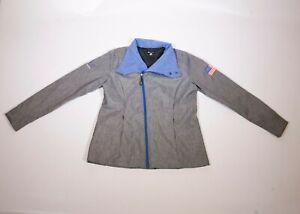 Women's Microsoft Logo Employee Full Zip Jacket Blue Gray Size Medium MSUS