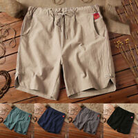 Mens Chinese Linen Shorts Summer Casual Solid Plus Size Beach Short Pants