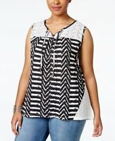 Style & Co. Black Lace Trim Printed Sleeveless Peasant Top Blouse NWT Plus Sz 0X