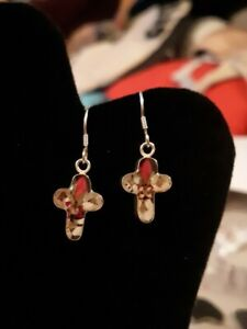 MEXICAN 925 SILVER CROSS DANGLING  EARRINGS REAL FLOWERS ROSES CHRISTIAN