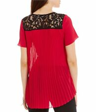 NWT $98 - MICHAEL KORS Pleated Back Hi-Low Lace Detailed Top, Raspberry, Size XL