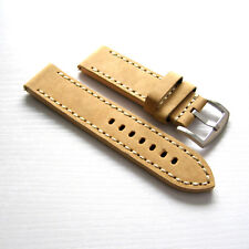 22mm Handmade Beige Cowhide Leather Vintage Classic Watch Band Strap