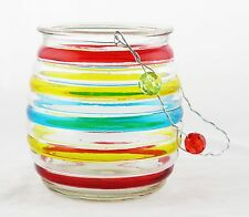 Blue Red Yellow Striped Glass Bucket Hanging Tea Light Holder Yankee Candle NEW