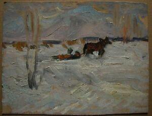 Russian Ukrainian Soviet Oil Painting impressionism landscape snow winter horse