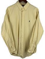 Men's Polo Ralph Lauren Yellow Corduroy Style Button Down Shirt Large L/S Blake