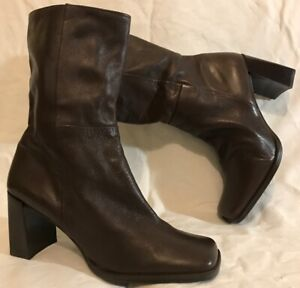 Oppus Dark Brown Mid Calf Leather Lovely Boots Size 40 (391QQ)