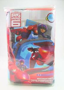 "DISNEY BIG HERO 6 MICROFIBER TWIN COMFORTER SUPERHERO KIDS BOYS BED 64"" X 86"""