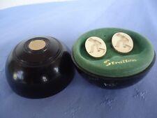 vintage stratton lawn bowls cufflinks in junior lawn bowl case akin henselite