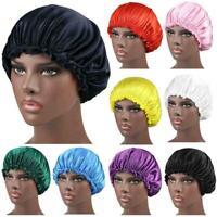 Men Unisex Satin Solid Wide Brim Sleeping Hat Hat Hair Bonnet Care Cap J7P3