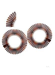 Stretch Zigzag Hair Band Headband TORT BROWN Flexi Comb Headbands 1pair
