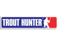 2x9 inch MLB Style TROUT HUNTER Bumper Sticker - decal fishing funny fisher fish