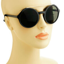 Metal Top Bar Retro Vintage Style Large Circle Round Sunglasses Shades Black