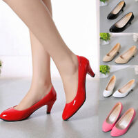 Women's Work Smart Wedding Court Shoes Pumps Ladies Low Stiletto Mid High Heel