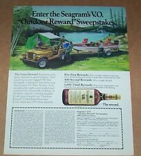 1985 print ad page -Seagram's VO Jeep Renegade Bass Tracker boat Coleman camping