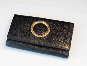 Vintage Gianni Versace Leather Key Wallet Medusa Gold Relief - Rare