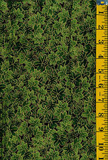 Mariko Metallic Green Leaves by Blank Cotton Fabric  BTY Packed Leaves