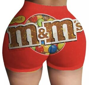 *NEW* Womens Peanut M&M's Booty Shorts Plus Size 2XL Snack Candy Hot Pants Yoga