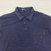 Polo Ralph Lauren Polo Shirt Mens XL Navy Blue Stripe Short Sleeve Casual Cotton