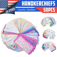 50x Flower Handkerchiefs Various Cotton Vintage Hankies Floral Lady Style