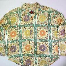 YES MEN Vintage Retro Shirt Flower Print Design Size XL